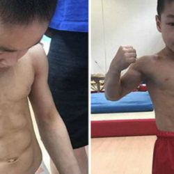 chen yi - chines 7 anos abdômen trincado