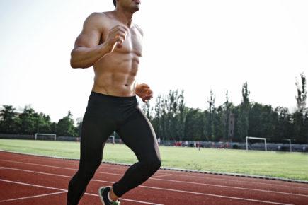 homem, músculo, correndo